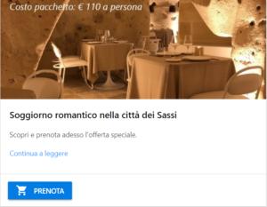 Soggiorno romantico Matera sassi